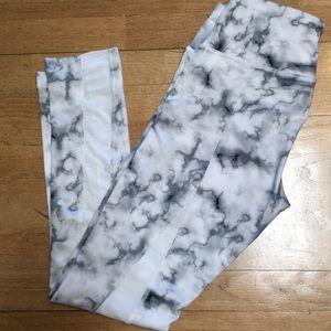 90 Degree Grey Marble Sheer Mesh Leggings S NWOT